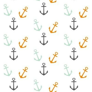 Nautical Anchors - Mint, Grey, orange Anchors