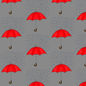 Umbrellas and Raindrops-Red