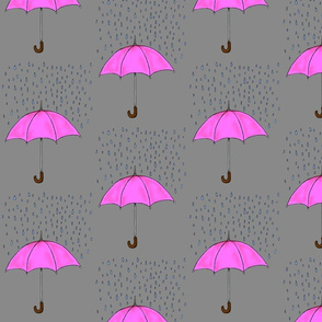 Umbrellas and Raindrops-Pink