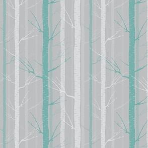 Birch Tree Forest - Blue