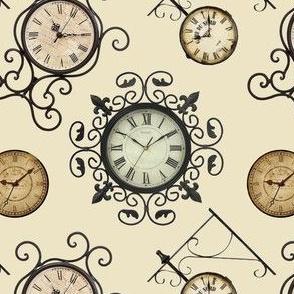 Scrolled Cream Clock