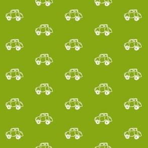 Vroom - White on green