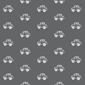 Vroom - white on grey