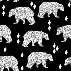 Origami Bear - Black and White by Andrea Lauren