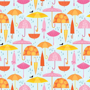 Pretty Parasols for Precipitation on blue