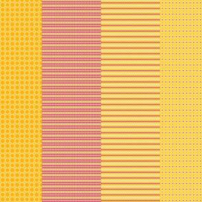 4 designs per yard - orange and fuchsia