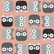 Peachy Block Owls