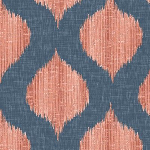 Lela Ikat in Navy and Coral