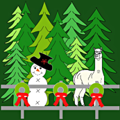 Alpacas Fun In The Snow Christmas Green, Trees, Wreaths and Woodland Fabric