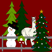 Alpacas Fun In The Snow Red Christmas, Trees, Wreaths, and Holiday Fabric