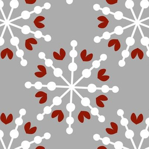 Love Snowflakes - Grey and Red
