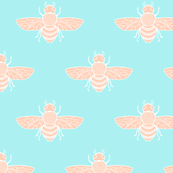 Baby Bee, Peach on Blue