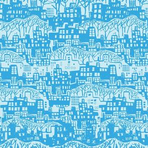 Cityscape in blue