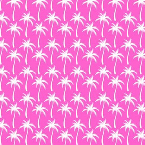 Palm Trees White On Pink