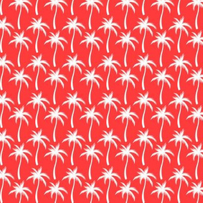 Palm Trees White On Red