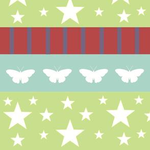 Magic-butterflies white LG - kiwi