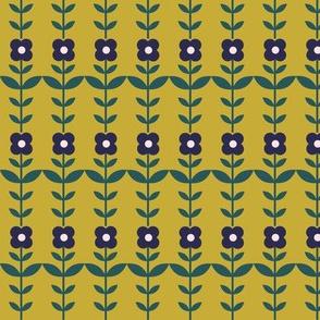 floral stripe - gold