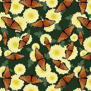 Butterflies and Chrysanthemums