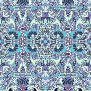 Blooming Blue Paisley Wall Flowers