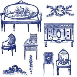 Louis XV Style ink blue on white