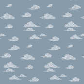 Oriental Clouds Steel Blue