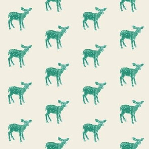 Dear Deer in Green on Cream