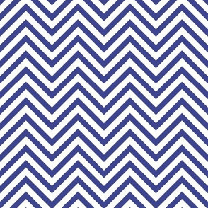 Thin Chevrons - Royal Blue on White