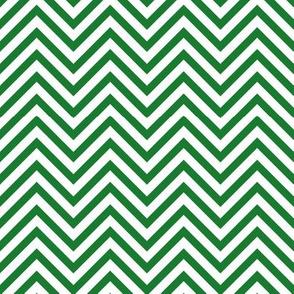 Thin Chevrons - Green on White