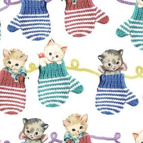 Vintage Kittens in Mittens