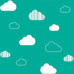 Clouds - White on Teal