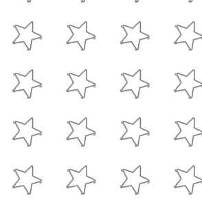 Large Sketchy Black Stars on White - Wide Spacing