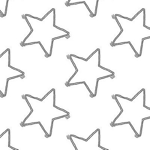 Large Sketchy Black Stars on White