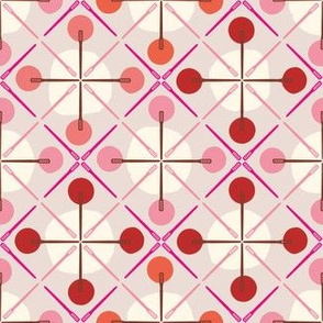 Crosses & Dots (red + pink)