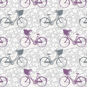 Bicycles and postcards grey and purple ditsy floral