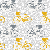 Bicycles and postcards mustard and grey ditsy floral