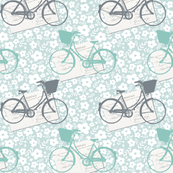 Bicycles and postcards ditsy print
