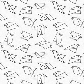 origami birds white