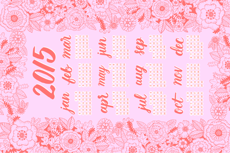 2015 Calendar Tea Towel - Pink