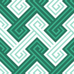 Athena Greek Key in Shades of Teal