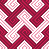 Athena Greek Key in Maroon and Rose