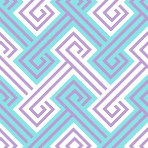 Athena Greek Key in Aqua and Purple