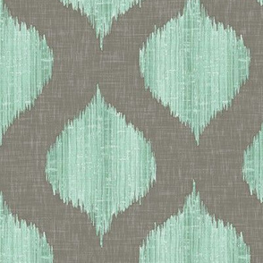 Lela Ikat in Aqua and Gray