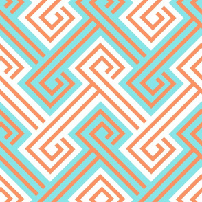 Athena Greek Key in Aqua and Tangerine