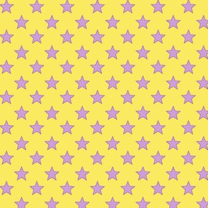 Large Purple Stars on Yellow Background
