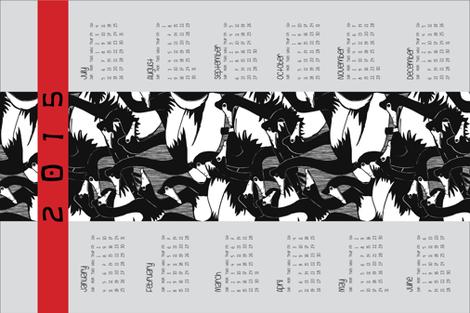 Geese in the 'hood 2015 calendar tea towel
