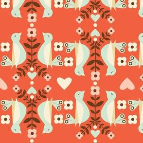 Striped Birds - Coral