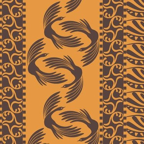 swan stripe on pumpkin cream