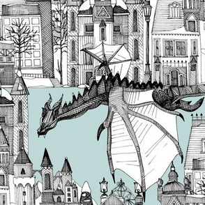 dragon kingdom winter toile blue