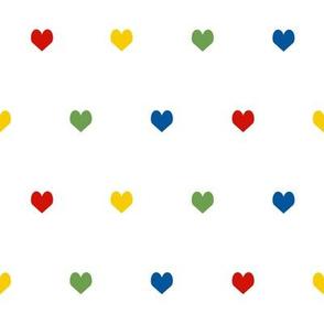 hearts rainbow valentines heart fabric hearts red yellow green blue hearts rainbow hearts cute