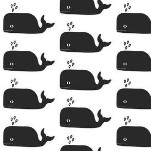 whale happy cute black and white minimal monochrome animal trendy kids design